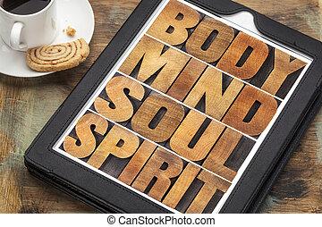 mente, espíritu, cuerpo, tableta, alma