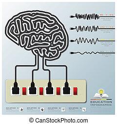 mente, infographic, educación, modulaciones, onda cerebral