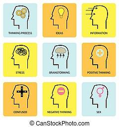 mente, pensamentos, ícone