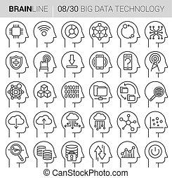mente, proceso, vector, iconos de tecnología