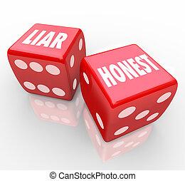 menteur, dés, deux, honnête, vs, sincérité, mots, malhonnêteté, rouges