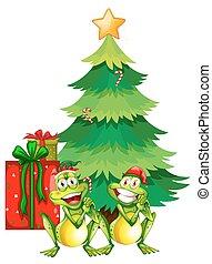 mentezsinór, téma, fa, két, karácsony
