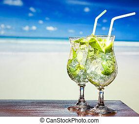 menthe, cocktail, chaux