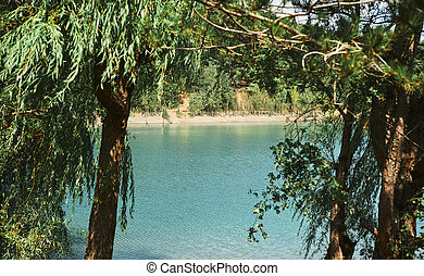 menthe, encuadrado, lago, paisaje, hermoso, marco, árboles, agua, coloreado, nature., wiht, water., montaña