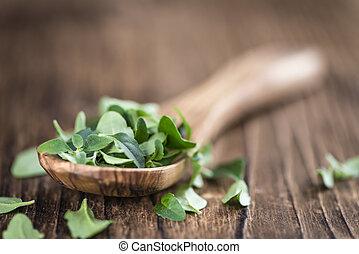 Menthol leaves on wooden background - Menthol leaves on...