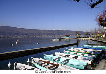 Menthon marina and boats, Annecy lake, France