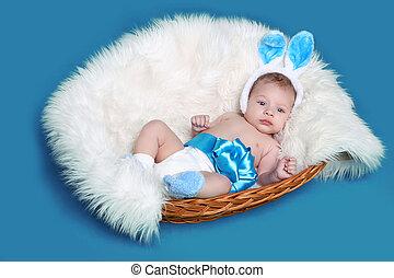 mentindo, bebê recém-nascido, ligado, experiência azul