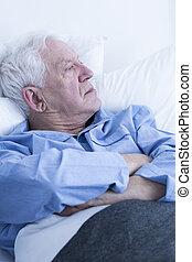 mentindo, hospitalar, paciente, idoso, cama