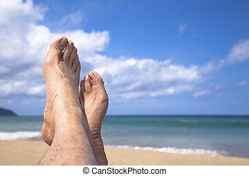 mentindo, meu, praia, pés, verão, observar, apreciar, férias
