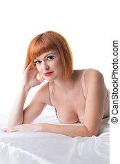 mentindo, vermelho-haired, imagem, estúdio, mulher