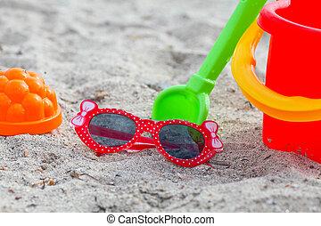 mentira, praia, óculos de sol, vermelho, criança