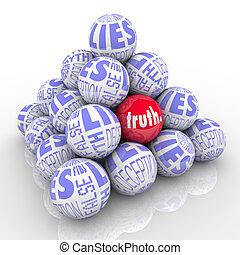 mentiras, escondido, pirámide, pelotas, verdad, apilado