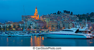 Menton at night