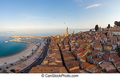 Menton France colorful city View on old part of Menton, Provence-Alpes-Cote d'Azur, France. High quality photo