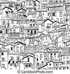 menton, ville, france, vieux