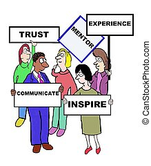 Mentor - Business cartoon defining 'mentor: trust, inspire, ...