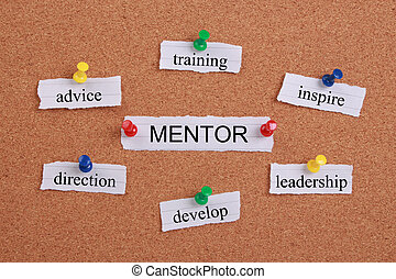 Mentor Concept - Mentor and related words pinned on cork...