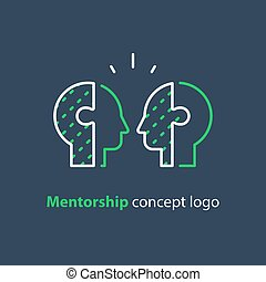 Mentor concept, two side heads icon, psychology, human interraction