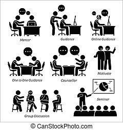 mentor, dirección, entrenador, para, empresa / negocio,...