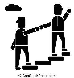 mentor - helping - mentoring - achieving goal icon, vector illustration, black sign on isolated background