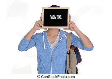 """""""mentor"""", homme, tableau, tenue, texte"""
