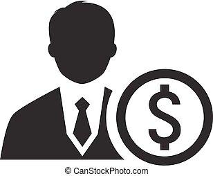 mentor, icon., empresa / negocio, concept., plano, design.
