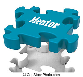 Mentor Puzzle Shows Knowledge Advice Mentoring And Mentors -...