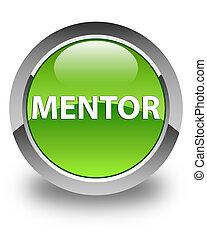 mentor, redondo, botón, verde, brillante