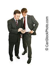mentor, série, -, homens negócios, &, pda