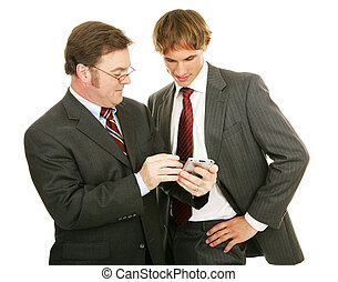 mentor, serie, -, hombres de negocios