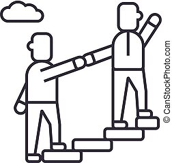 mentor,helping,mentoring,achieving goal vector line icon, sign, illustration on background, editable strokes