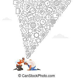 Mentoring concept. Giving advice for career success. Guidance in business. Support and motivation. Isolated flat vector illustration