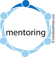 Conceptual illustration of different people in a circle with one person standing out from the rest because he is the mentor and the word mentoring inside the circle of people.