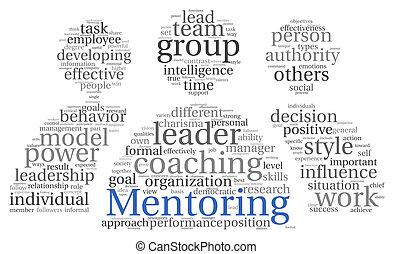 mentoring, concept, mot, nuage, étiquette
