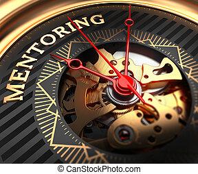 mentoring, face., reloj, black-golden