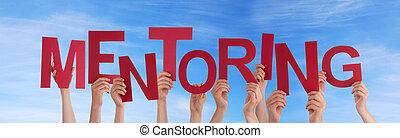 mentoring, himmelsgewölbe, halten hände