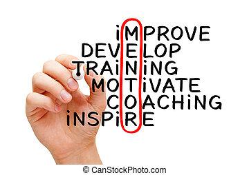 mentoring, met de hand geschreven, kruiswoordraadsel, concept