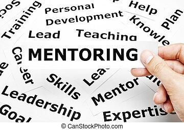 mentoring, papel, palabras, concepto