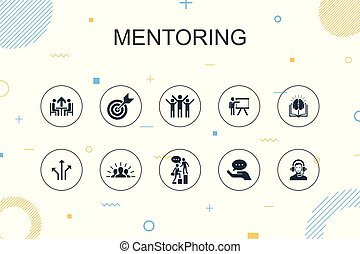 Mentoring trendy Infographic template. Thin line design with...