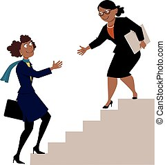 Mature african-american business woman offering a hand to a young protegee, going upstairs, as a metaphor for mentorship or hiring, EPS 8 vector illustration
