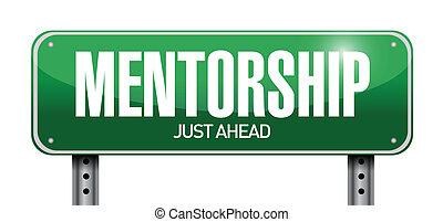 mentorship, projektować, droga, ilustracja, znak