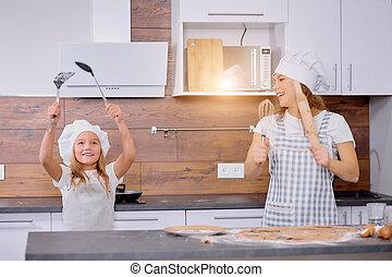 mentre, figlia, ballo, madre, cottura