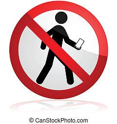 mentre, texting, camminare, no