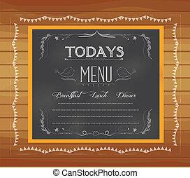 menu, écrit, tableau