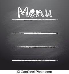 menu, écrit, tableau noir