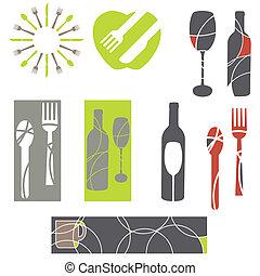 menu, élément, graphiques