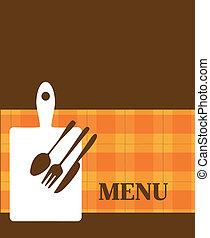 menu, éléments, gabarit, cuisine