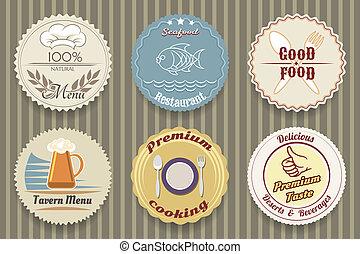 menu, étiquettes, restaurant