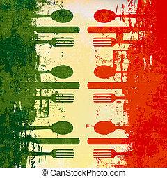 menu šablona, italský