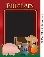 menu, achtergrond, slager
